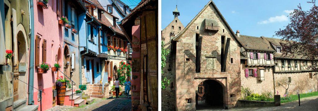 Viinimatkalla Königsburgin linnassa. Keskiaikaisen muurin ympäröimä Riquewihr