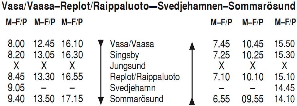 Tidatabell aikataulu raippaluoto replot bussi